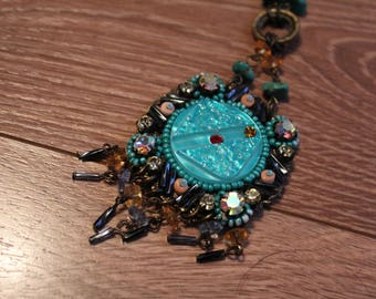 VTG 80s Boho Chic Blue Toned Long Chain Beaded Necklace