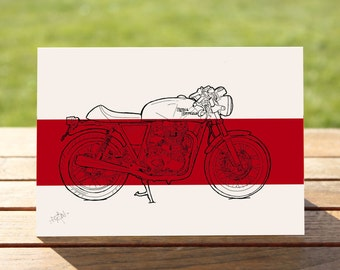 "Royal Enfield Continental GT Motorcycle Gift Card  | Red Colourblock | A6 - 6"" x 4"" / 103mm x 147mm 