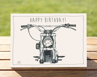 """Motorcycle Birthday Card - """"Head on"""" Motorcycle Portrait 