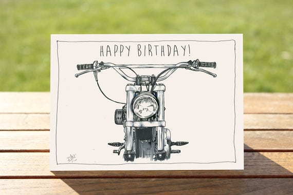 """Motorcycle Birthday Card - """"Head on"""" Harley Davidson Portrait 