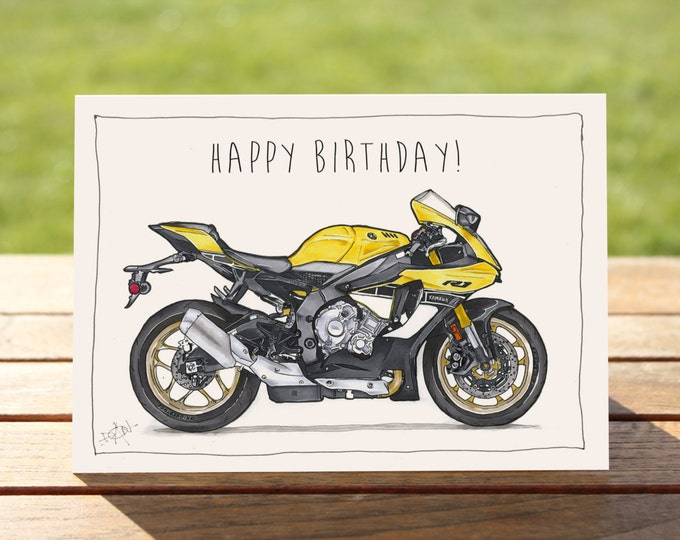 "Motorcycle Birthday Card Yamaha 2016 Yamaha R1 | A6 - 6"" x 4""  / 103mm x 147mm 