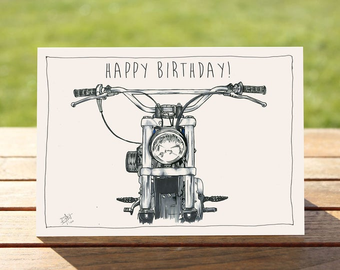 "Motorcycle Birthday Card - ""Head on"" Harley Davidson Portrait 