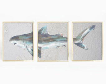 Triptych Wall Art, Triptych Painting,  Shark Print, Shark Wall Art, Tiger Shark Art, Shark Painting, Tiger Shark Art Poster, Boys Wall Art