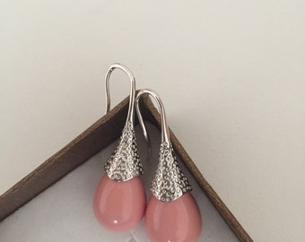 Pink Mallorca Pearls Earrings,Goldfilled Mallorca Earrings,Silver Pearls,Pink Pearls