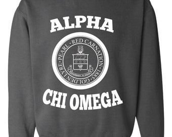 Alpha Chi Omega // A Chi O // Sorority Comfort Color (Crest)  Sweatshirt // Choose Your Color