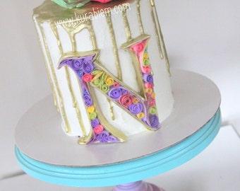 3D Sugar fondant quilling paper art sugar topper