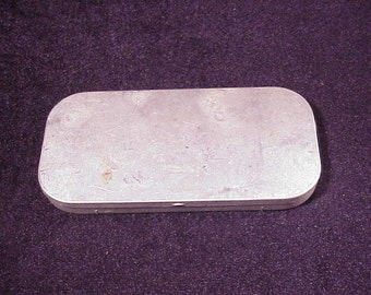 Vintage Aluminum Fishing Fly Storage Case, with Cloth Insert, 3 Flies, Old, Metal, Cabin, Home Decor, Collectable, Gear