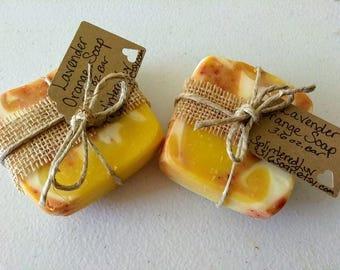 Lavender Orange Soap/Organic Soap/Handmade Soap/Essential Oil Soap/Bar Soap/Natural Soap/Vegan Soap/Gift Soap/Soap Samples/Christmas Gift