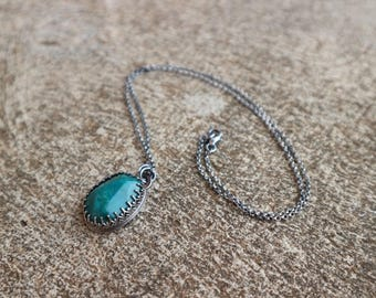 Chrysocolla and silver necklace
