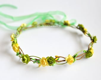Green and yellow flower crown - wedding hair accessories - Flower girl crown - green floral crown - yellow hairpiece - green halo adult