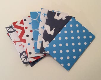 Gift card holders, nautical mini envelopes, gift card envelopes, journal / planner accessories, snail mail