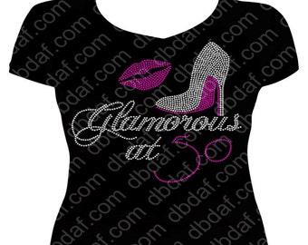 Glamorous at 50 with Rhinestone Heel & Lips