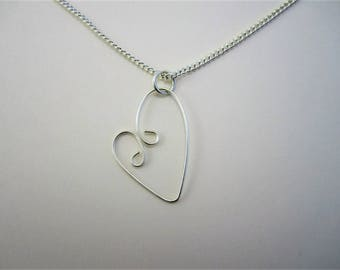 Sterling Silver Heart Pendant - Sterling Silver Chain - Minimalist Necklace