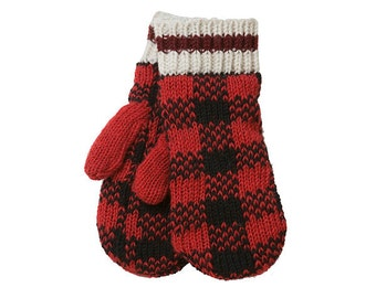 Checker Mittens, mitts, gloves, warmers, hand warmers, wool, hand knit, fleece lined