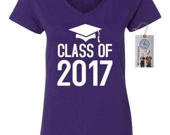 Class Of 2017 Graduation Womens Short Sleeve V Neck T - Shirt Top