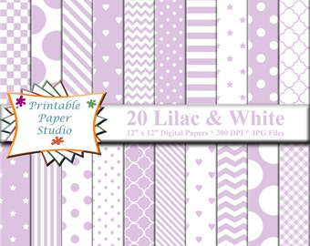 Lilac Purple Digital Paper Pack, 12x12 Scrapbook Paper, Purple Lilac Paper Instant Download Digital File, Lilac Purple Patterned Paper