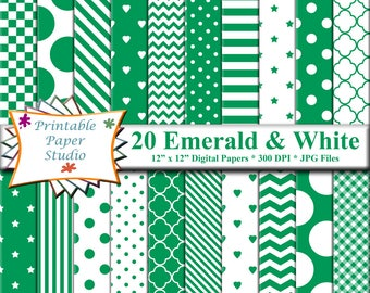 Emerald Green Digital Paper Pack Colored For Scrapbooking Patterned