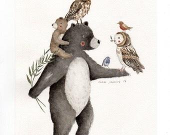 Original Watercolour Painting- Bear and Friends