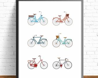 bike print, wall art print, nursery decor, Bicycle lover, Boyfriend gift, Girlfriend gift, vintage bicycle art,4 SIZES INCLUDED