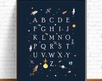 nursery space print, nursery alphabet print,nursery decor,wall art print,kids room decor,wall art space,stars nursery, 4 SIZES INCLUDED,