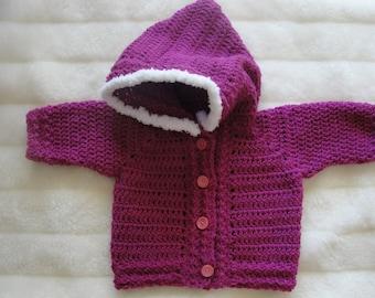 Hooded sweater, handmade sweater, crochet sweater, girl jacket with hood, size 1-2 years, baby jacket, toddler jacket, hooded winter jacket