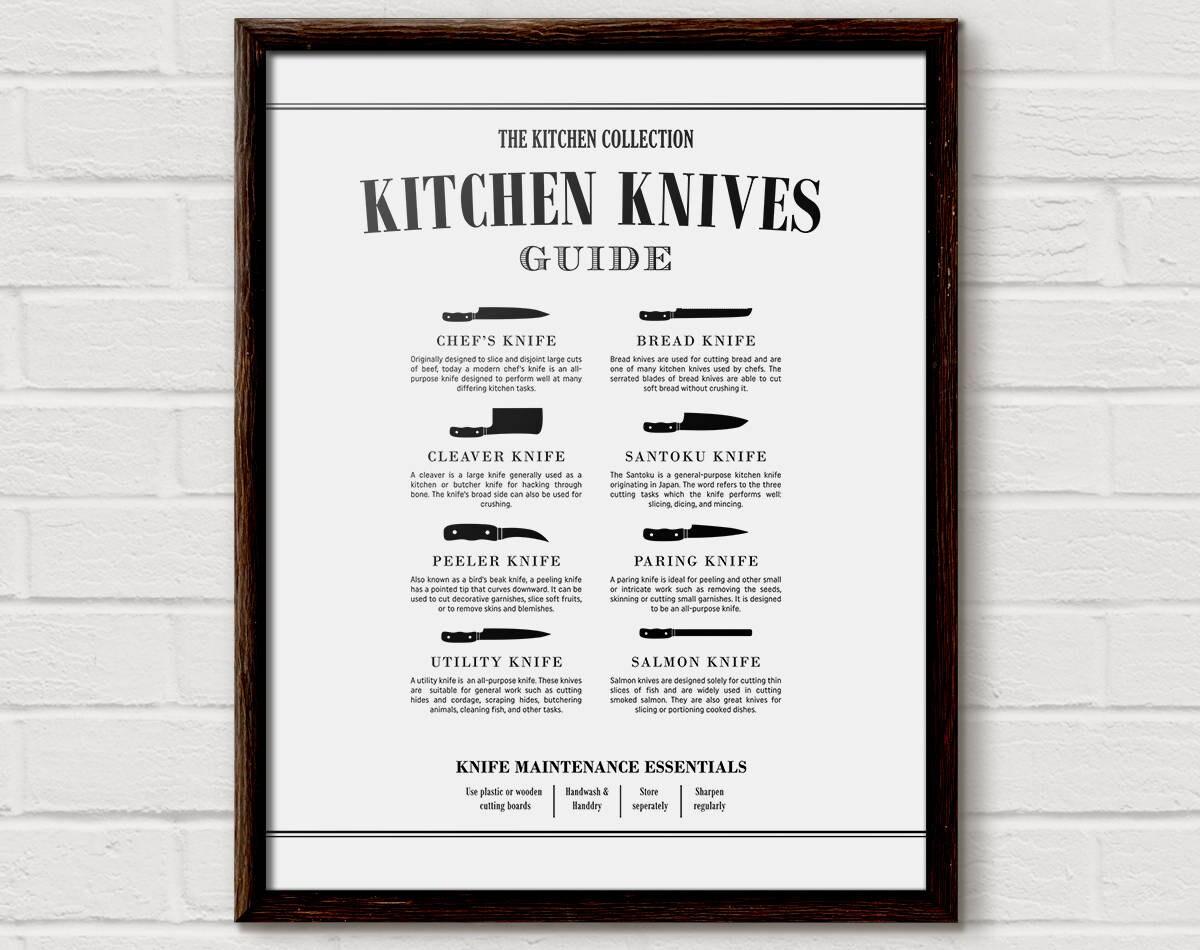 kitchen knife chart butcher print kitchen diagram cooking