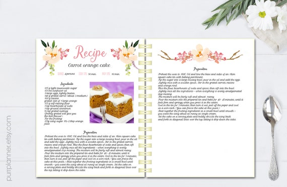 Floral printable cook book editable recipe template recipe – Word Recipe Book Template