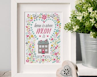 Home Is Where Mum is Illustrated Art Print