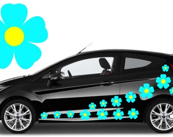 32, sky blue flower car decals,stickers in three sizes