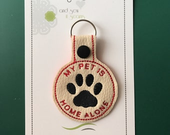 My Pet Is Home Alone Keyfob. Medic Alert keyring. Emergency Services alert