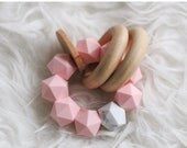 EASTER SALE Modern Teething Toy Wooden Marble Silicone Teether Icosohedron Teething Beads Modern Baby Gifts Easter Gift Soothing Teether Toy