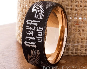 Tungsten Wedding Band Ring Bikers Ring Tattoo Style Tungsten Band Any Design Any Logo Laser Engraved Rose And Black Two Tone Mens Ring
