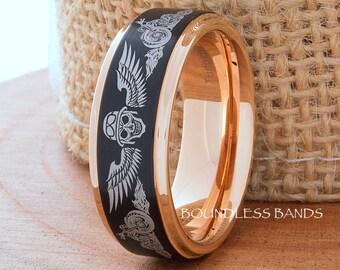 Tungsten Ring,Skull Ring,Wedding Band,8mm,Black Rose Ring,Mans Wedding Band,Anniversary Ring,Biker Ring,Custom Laser Engraving,Comfort Fit