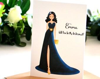 Be My Bridesmaid Invitation, Bridal Party Greeting Card, Matron of Honour Proposal, Ask Bridesmaid Card, Maid of Honour Card, Card for Her