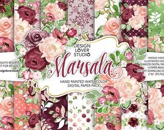 Watercolor MARSALA digital paper pack, flower, peach, peonies, bouquets, leaves digital paper, Floral pattern, seamless pattern, roses
