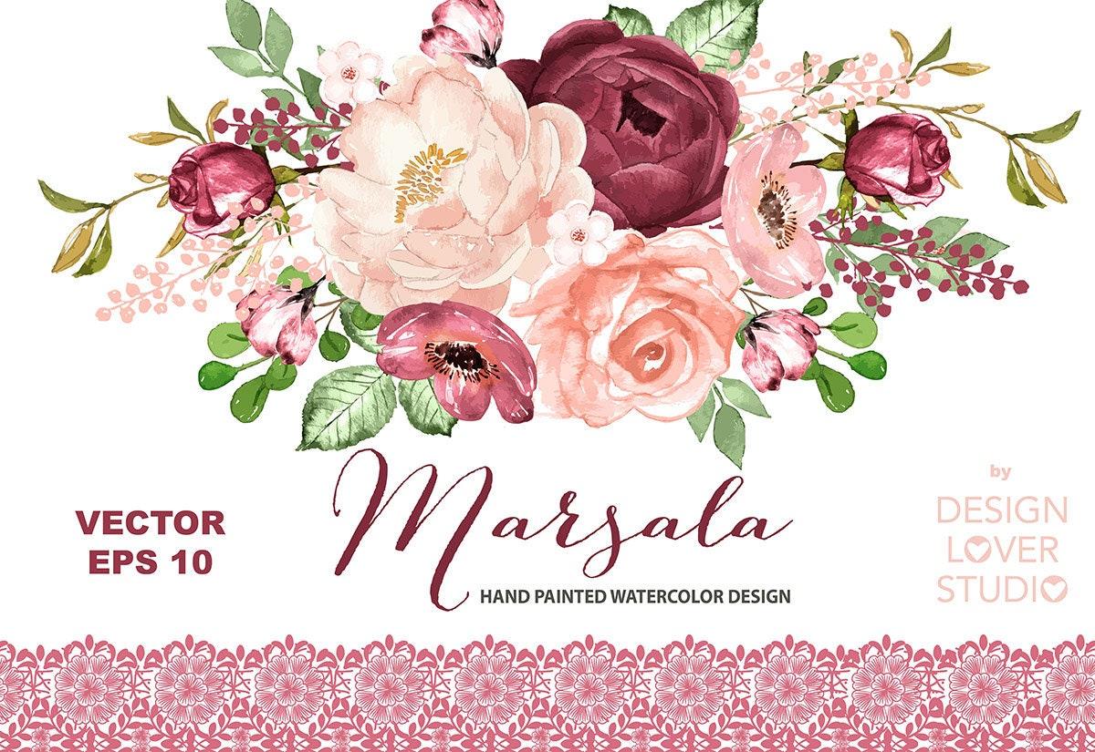 Vector Watercolor MARSALA Dreams Design Spring Watercolor Flower Pink Blush Floral Clipart