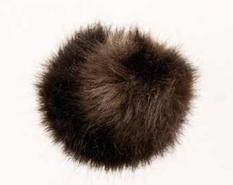 Pom Pom fake fur 10 cm diameter in colour dark furry brown for bobble hats as keyring or for your mirror in the car pompom multipurpose