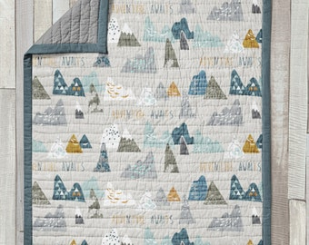 Crib Quilt / Baby Blanket / Mini Quilt / Toddler Quilt - Adventure Awaits Collection by Fabricology  Navy / Gray / Baby Boy Nursery Set