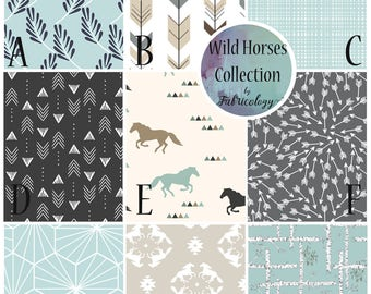 Custom Nursery Set / Crib Set / Baby Boy Bedding - Wild Horses Collection by Fabricology - New Baby Gift / Baby Boy Gift / Western Nursery