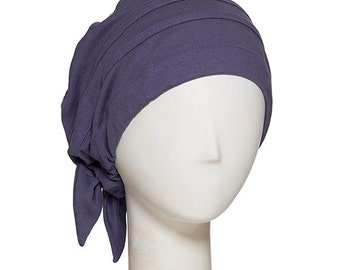 Softlines cancer hat. No-fuss chemo headwear with body and style. 100% cotton hat for cancer patients with flattering drape to one side.