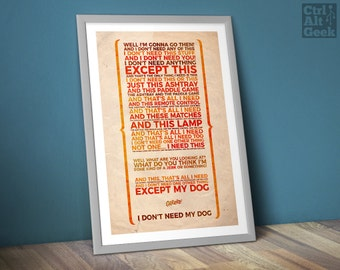 """I Don't Need Anything [DL] // The Jerk, Steve Martin, Optigrab, Steve Martin Quote, Carl Reiner, A2 & 18x24"""", Download Copy"""