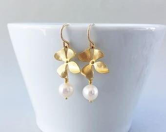 Gold Orchid Flower White Pearl Dangle Earrings, Freshwater Pearl Drop Earrings - on Gold Filled Ear Wires, Wedding Bridal Earrings