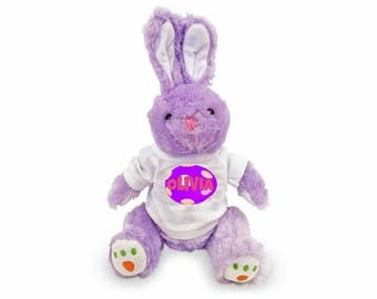 "Personalized Carrot Paw Easter Bunny 14 "" - Purple"