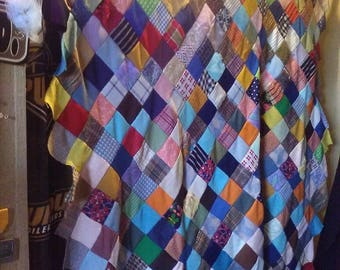 Hand Woven  Squares QUILT APP. 4X6 UNFINISHED /blanket/