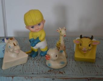 5 Piece Lot of Vintage Squeak Toys - Alan Jay Clarolyte & More!