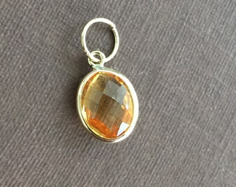14k solid gold and citrine gemstone charm, pendant, November birthstone