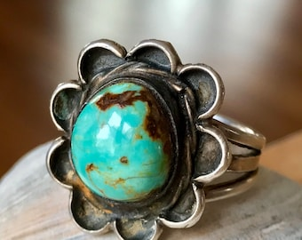 Vintage Navajo Old Pawn Sterling Silver Turquoise Ring -Rings, Turquoise Rings, Vintage Navajo Royston Turquoise Ring, Ring Fred Harvey Era