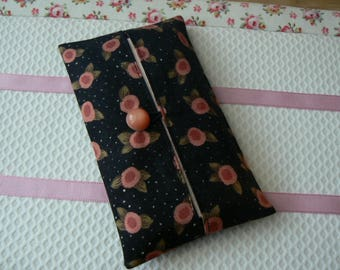 Black and old pink Pocket tissue holder Japanese and american fabric  Travel kleenex pouch handmade in France