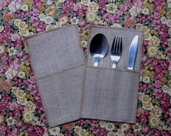 Set of 2 natural burlap utensil holders.  Rustic burlap silverware pockets set of 2 / Wedding table decoration / Party favor /