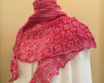 Hand knit shawl, shawlette, scarf, pink, merino wool